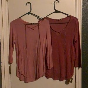Rose and dark rose long sleeve tie t-shirts